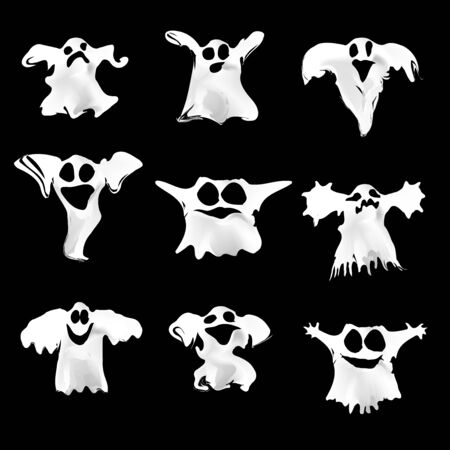 Set of halloween white ghosts with different expressions for your design and business. Scary funny cute spooky. Illustration
