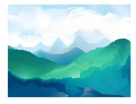 Panorama vector illustration of mountain ridges. Peaks, blue green hills, forest, clouds in the sky. Watercolor imitating stylized painting.