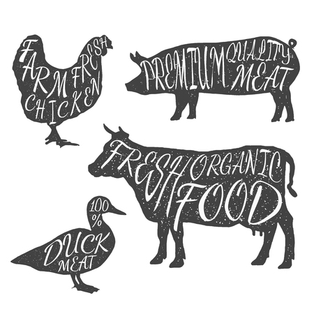 cows: Farm animals icon set. Chicken, cow, duck, pig. Butchery concept isolated on white. Meat symbols, beef, pork, chicken, duck hand-drawing silhouettes. Vector illustration for your design and business.