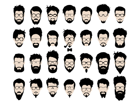 geek: Vector set of dress up constructor. Different men faces hipster geek style haircut, glasses, beard, mustache, bowtie, pipe. Silhoutte icon creation kit. Design flat avatar for social media or web site