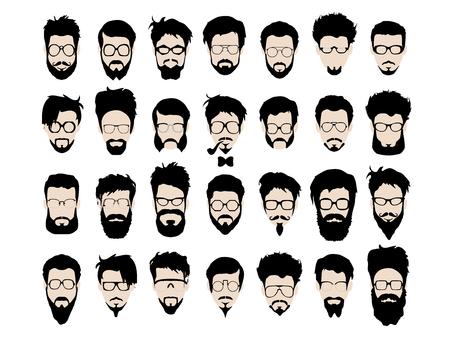 Vektor-Reihe von dress up-Konstruktor. Verschiedenen Männern Gesichter hipster Aussenseiterart Haarschnitt, Brille, Vollbart, Schnurrbart, bowtie, Rohr. Silhoutte Symbol Creation Kit. Entwerfen flach avatar für Social Media oder Web-Site