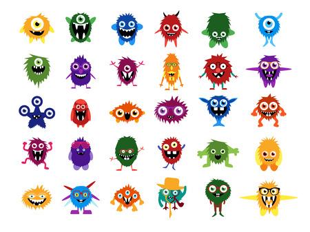 Monstruos lindos. Gran conjunto de monstruos de la historieta. Caras editables, ojos, dientes, sonríe. Monstruos vector mullidas y extranjeros en vidrios con expessions y gestos personalizados. Criaturas de Halloween para su diseño. Ilustración de vector