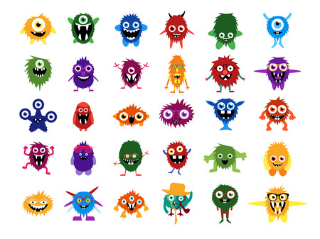 Cute monsters. Big set of cartoon monsters. Editable faces, eyes, teeth, smiles. Fluffy vector monsters and aliens in glasses with custom expessions and gesture. Halloween creatures for your design. Vettoriali