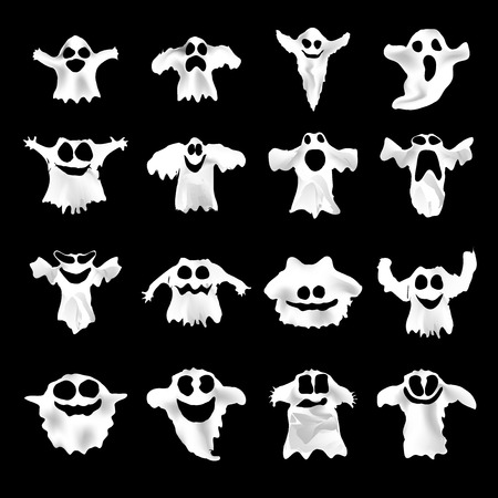 poltergeist: Set of halloween white ghosts with different expressions for your design and business. Scary funny cute spooky. Vector illustration EPS 10 isolated on black background. Custom shapes, faces and smiles