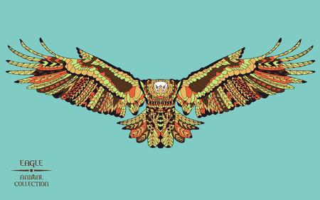 tribales: Águila estilizada Zentangle. Colección animal. Dibujado a mano del doodle. Étnico ilustración vectorial patrón. Africana,, tótem, diseño tatuaje indio. Boceto para tatuaje, carteles, grabados o camiseta.