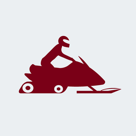 Snowmobile with driver. Extreme sports icon. Vector illustration eps 8.  イラスト・ベクター素材