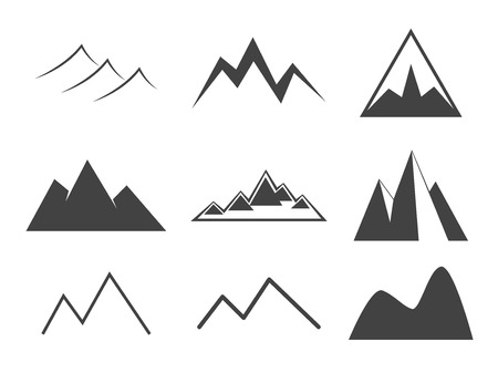 ridges: Mountain icons set. Line icon vintage silhouette collection. Rock,  ridges, volcano, snow ice peacks. Outdoor wilderness infographics elements. For your design and business.