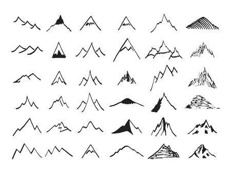ridges: Mountain icons set. Hand drawn line icon. Vintage silhouette collection. Rock, ridges, volcano, snow ice peacks. Outdoor wilderness infographics elements. Ink sketches for your design and business.