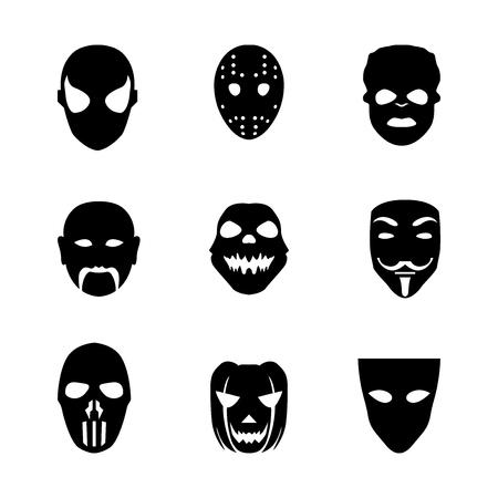 disguises: Festive carnival mask icons. Isolated vector set of silhouette black disguises for masquerade costumes on white. Halloween monsters mask illustration. Illustration