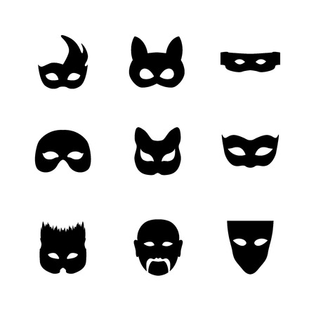 Festive carnival mask icons. Isolated vector set of silhouette black disguises for masquerade costumes on white. Halloween monsters mask illustration. Vettoriali