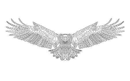 Adelaar. Volwassen kleurplaat. Vogel. Zwart en wit hand getrokken doodle. Etnische patroon vector illustratie. Afrikaanse, indisch, totem, stammen, zentangle ontwerp. Schets voor tattoo, poster, afdrukken of t-shirt Stock Illustratie