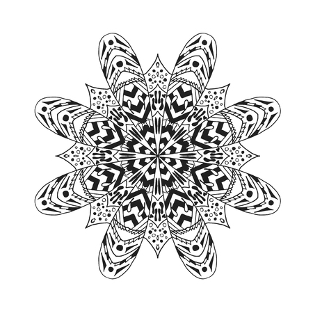 decorative design: Mandala. Ethnic abstract decorative elements. Hand drawn background. Islam, arabic, indian, zentangle, tribal, african, ottoman motifs. Sketch for coloring page, tattoo, poster, print, card or t-shirt