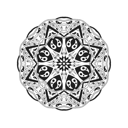 traditional tattoo: Mandala. Floral ethnic abstract decorative elements. Hand drawn background. Islam, arabic, indian, zentangle, tribal, african, ottoman motifs. Sketch texture for tattoo, poster, print, card or t-shirt