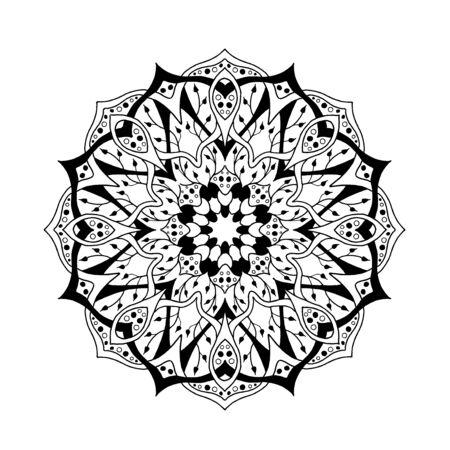 arte abstracto: Mandala. Elementos decorativos florales étnicos abstractos. Dibujado a mano de fondo. , Árabe, indio, zentangle, tribal, motivo africano islámico. Textura de la página para colorear, tatuaje, mehendi, imprimir la tarjeta, la camiseta. Vectores