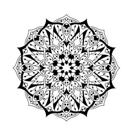 line art: Mandala. Floral ethnic abstract decorative elements. Hand drawn background. Islamic, arabic, indian, zentangle, tribal, african motif. Texture for coloring page, tattoo, mehendi, print, card, t-shirt.