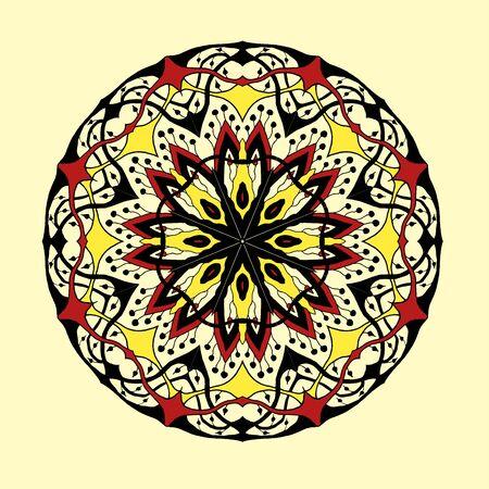 mehendi: Mandala. Floral ethnic abstract decorative elements. Hand drawn background. Islamic, arabic, indian, zentangle, tribal, african motif. Texture for coloring page, tattoo, mehendi, print, card, t-shirt.