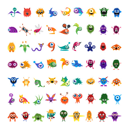 Big vector set of drawings custom characters isolated colorful monsters, germs, bacteria, aliens, halloween characters for prints, website, social media avatar, banners. For your design and business.