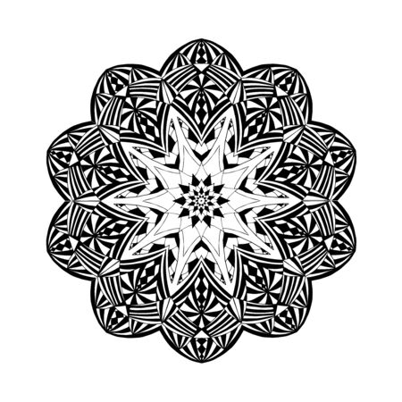 black fabric: Mandala. Floral ethnic abstract decorative elements. Hand drawn background. Islamic, arabic, indian, zentangle, tribal, african motif. Texture for coloring page, tattoo, mehendi, print, card, t-shirt.