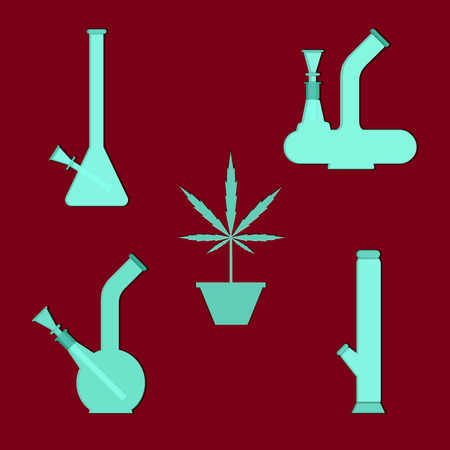 cannabis sativa: Marijuana equipment Illustration