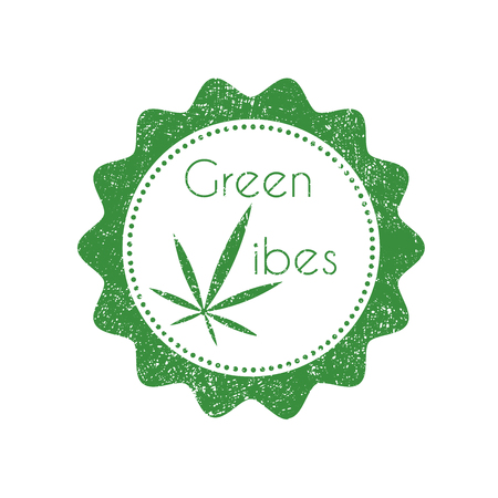 canabis: Vintage badge with marijuana leaf