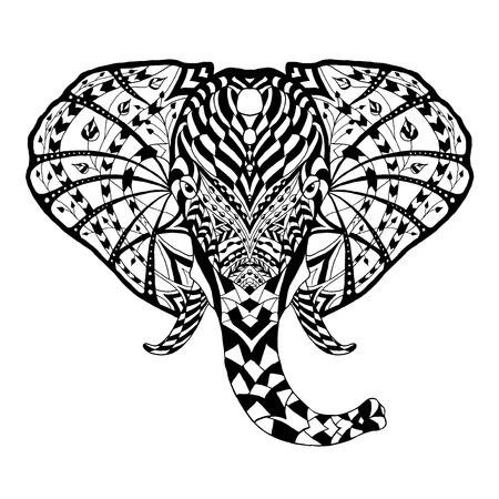 tribales: Blanco y negro del doodle de animales - Elefante Vectores