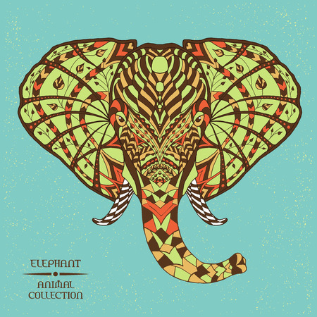 mammoth: Coloured hand drawn doodle animal - Elephant