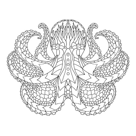 Octopus. Black and white hand drawn doodle animal. Ethnic patterned vector illustration. African, indian, totem, tribal, zentangle design. Sketch for adult colouring page, tattoo, poster, print or t-shirt.