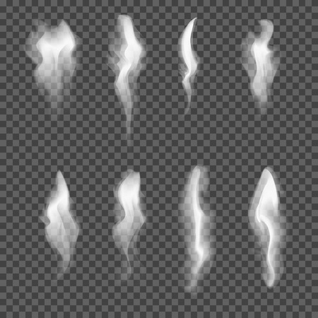 Set of transparent realistic white grey smoke. Smooth delicate isolated flowing cigarette smoke waves on transparent background. Custom shapes and colors. Fully editable vector illustration EPS 10.
