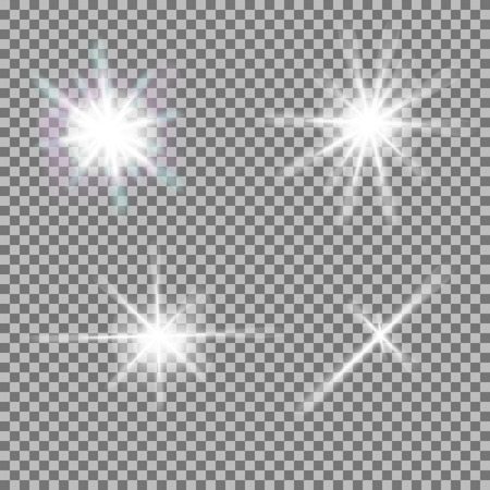 Vector set of glowing light bursts with sparkles on transparent background. Transparent gradient stars, lightning flare. Magic, bright, natural effects. Abstract texture for your design and business. Vettoriali
