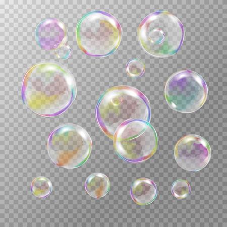 Set van veelkleurige transparante zeepbellen met blikken, hoogtepunten en hellingen. Aangepaste vormen en kleuren. EPS 10 vector illustratie op lichtgrijze achtergrond. Voor uw ontwerp en bedrijf Stock Illustratie