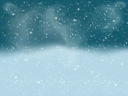 silver star: Winter landscape with falling white snow. Christmas background with snowflakes. Beautiful blue night xmas scene with glow, stars, clouds and sparks. Vector illustration for your design and business.