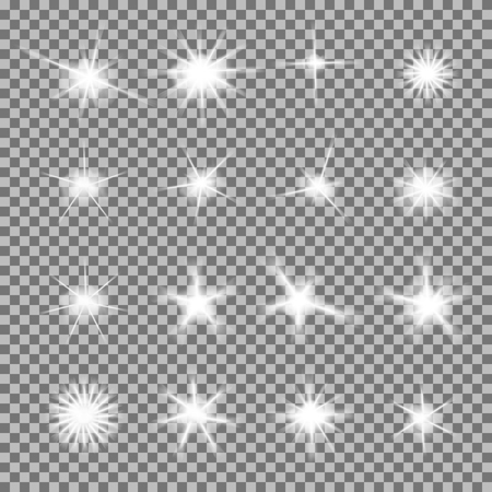 lucero: Vector conjunto de brillantes explosiones de luz con destellos en el fondo transparente. Estrellas gradiente transparentes, llamarada rayo. Magia,, efectos naturales brillantes. Textura abstracta para su dise�o y los negocios.
