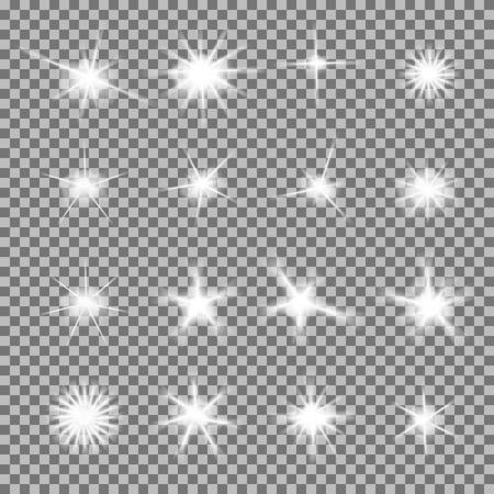Vektor-Satz von glühenden Licht Bursts mit funkelt auf transparentem Hintergrund. Transparent verlauf Sterne, Blitze Akzent. Magie, helle, natürliche Effekte. Abstrakte Textur für Ihr Design und Wirtschaft.