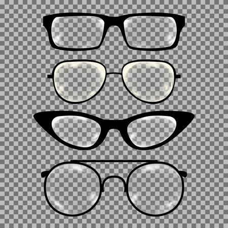 geek: Set of custom glasses isolated. Vector illustration on white background. Glasses model icons, man, women frames. Sunglasses, eyeglasses isolated on white. silhouettes. Different shapes, frame, styles