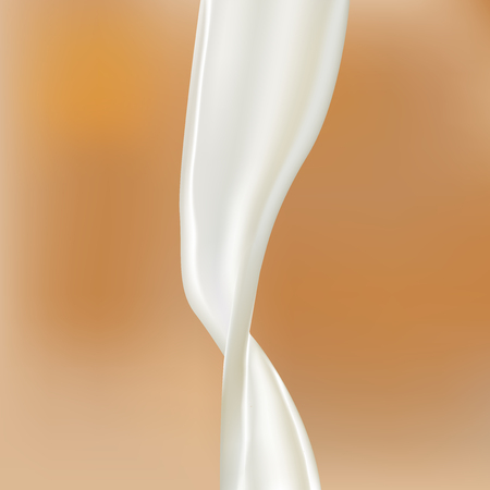 oat: Pouring milk splash isolated on coffee background. Cows, sheeps, goats, soya, rice, oat, coconut milk splash pour. Vector illustration. Texture created with mesh tool.  For your design and business.