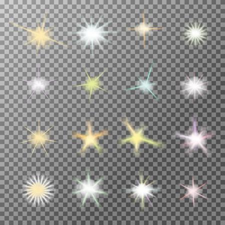 벡터 현실적인 렌즈는 투명한 배경에 반짝 빛 버스트 빛나는 설정합니다. 그라데이션 스타, 번개 플레어. 매직, 밝은, 자연 효과. 디자인 및 비즈니스를