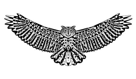 Águila pájaro búho. Animales. Dibujado a mano del doodle. Étnico ilustración vectorial patrón. Africano, indio, tótem, tribal, diseño. Boceto para colorear página del adulto, tatuaje, cartel, impresión, camiseta Ilustración de vector