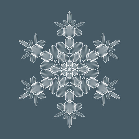 Decorative Snowflake. Background pattern for winter and christmas theme. Transparent realistic snow flake with mesh and gradient. Vector illustration EPS10. Clip-art for your design and business Ilustração