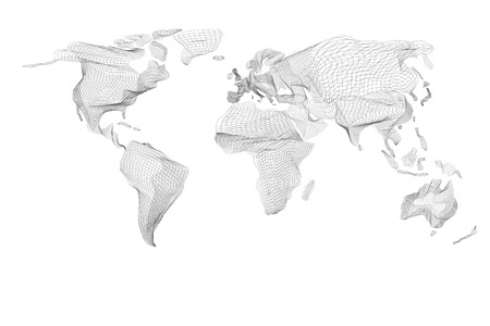World map. Abstract vintage computer graphic of black hologram lines. Polygonal card global geography, connect, continent and planet. Glowing patterned vector illustration of illuminating curve graph.