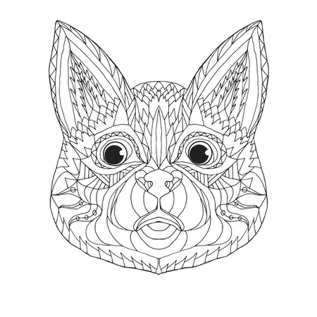 totem indien: tête de chat. Animaux. Tiré par la main doodle. Ethnique motifs illustration vectorielle. Africaine, indien, totem, tribal, conception zentangle. Dessinez pour coloriage, tatouage, affiche, impression, sac, t-shirt