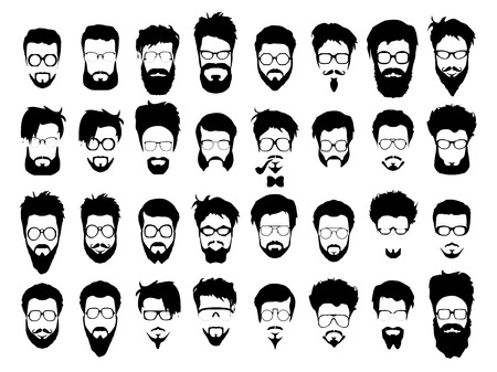 geek: Vector set dress up constructor. Different men faces hipster geek style haircut, glasses, beard, mustache, bowtie, pipe. Silhouette icon creation kit. Design flat avatar for social media or web site