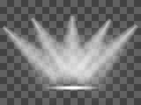 Incandescent réaliste blanc gris projecteurs sur fond vergé transparent. studio de théâtre, éclairage de la scène. Magie, effets de lumière lumineux, gradient. Vector illustration pour votre conception et d'affaires. Banque d'images - 48452333