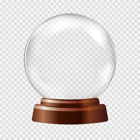 Globo de la nieve. Gran blanco esfera de cristal transparente sobre un soporte con miradas y luces. Ilustración vectorial contiene gradientes y efectos. Fondo de Navidad del invierno para su diseño y los negocios.