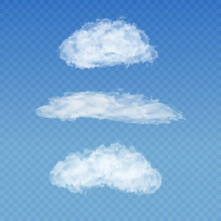 spindrift: Set of realistic transparent white clouds on a plaid blue sky background. Cirrus, cumulus, spindrift clouds. Custom shapes and textures. Vector illustration EPS 10. For your design and business.