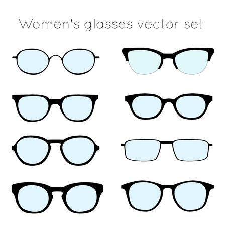 wayfarer: Vector set of different glasses on white background. Retro, wayfarer, aviator, geek, hipster frames. Women eyeglasses silhouettes.