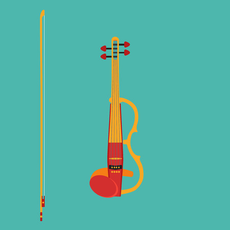 pickups: Electric violin with bow. Isolated musical instrument on teall backgound. Vector illustration in flat style design.