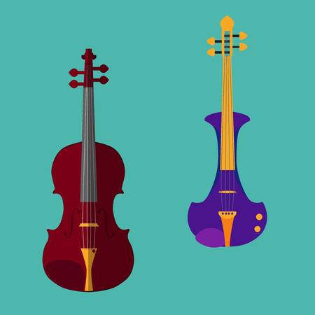 classical style: Set of different violins. Classical violin, electric violin. Isolated musical instruments on teal backgound. Vector illustration in flat style design.