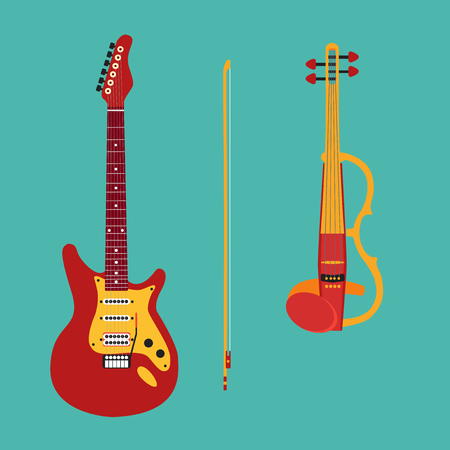 artistic: Set of string instruments. Electric violin, electric guitar. Isolated musical instruments silhouettes on a teal backgound. Vector illustration. Illustration