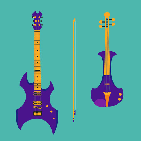 fingerboard: Set of string instruments. Purple electric violin with bow and heavy metal guitar. Isolated musical instruments on teal backgound. Vector illustration in flat style design.