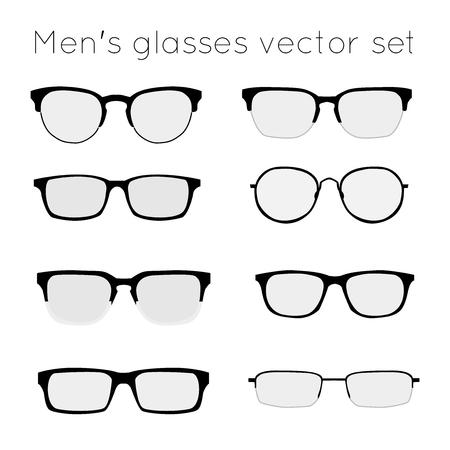 wayfarer: Vector set of different glasses on white background. Retro, wayfarer, aviator, geek, hipster frames. Man eyeglasses silhouettes. Illustration